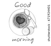 hand drawn cup of coffee the...   Shutterstock .eps vector #671924401