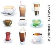 hot drinks. set of non... | Shutterstock .eps vector #671929279