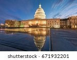 us capitol at dusk reflected in ... | Shutterstock . vector #671932201