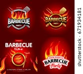 bbq 4 colorful poster designs ... | Shutterstock .eps vector #671934181
