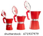 Small photo of nice design of the set of red geyser coffee maker ( ital. la moka ) on the table