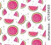 watermelon slices pattern.... | Shutterstock .eps vector #671939305