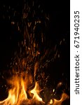 fire flames with sparks on... | Shutterstock . vector #671940235