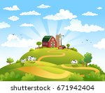 rural scene with the farm ... | Shutterstock .eps vector #671942404