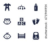 set of 9 baby icons set... | Shutterstock .eps vector #671944954
