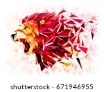 low polygon lion geometric... | Shutterstock . vector #671946955