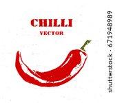 chili pepper isolated on white... | Shutterstock .eps vector #671948989