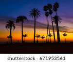 a sunset view of a cluster of... | Shutterstock . vector #671953561
