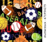 seamless sport pattern with... | Shutterstock .eps vector #671954275