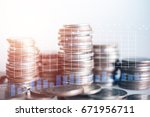 close up of rows coins for... | Shutterstock . vector #671956711