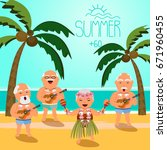happy retired people. vector... | Shutterstock .eps vector #671960455
