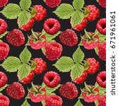 seamless vector raspberry... | Shutterstock .eps vector #671961061