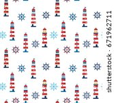 cute lighthouses seamless... | Shutterstock .eps vector #671962711