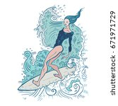 beautiful woman on surf board.... | Shutterstock .eps vector #671971729