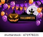 halloween carnival background ... | Shutterstock .eps vector #671978221