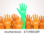 raised hands with one... | Shutterstock .eps vector #671980189