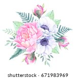 watercolor illustration. bucket ... | Shutterstock . vector #671983969