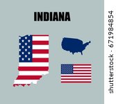 indiana map with usa flag | Shutterstock .eps vector #671984854