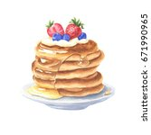 watercolor pancakes with honey... | Shutterstock . vector #671990965