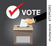 hand putting voting paper in... | Shutterstock .eps vector #671991001