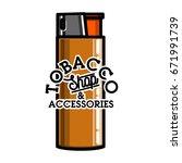 color vintage tobacco shop...   Shutterstock .eps vector #671991739