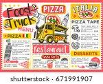 food truck festival vector menu ... | Shutterstock .eps vector #671991907