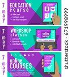 online education concept. set... | Shutterstock .eps vector #671998999