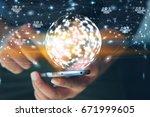 social network  globalization... | Shutterstock . vector #671999605