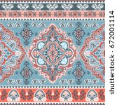 beautiful indian floral paisley ... | Shutterstock .eps vector #672001114