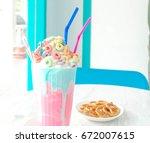 milkshake. bubblegum frappe in... | Shutterstock . vector #672007615