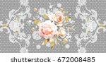 white roses with belgian lace... | Shutterstock .eps vector #672008485
