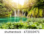 waterfalls in plitvice lakes... | Shutterstock . vector #672010471