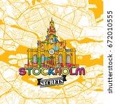 stockholm travel secrets art... | Shutterstock .eps vector #672010555