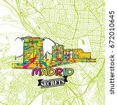madrid travel secrets art map... | Shutterstock .eps vector #672010645