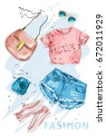 Summer Fashion outfit. Stylish trendy clothing: shorts, crop top, bag, shoes, sunglasses and photo-camera. Fashion girl clothes set, accessories. Woman's fashion look. Sketch. Vector illustration. | Shutterstock vector #672011929