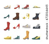 set of flat style shoes colored ... | Shutterstock .eps vector #672016645