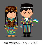 uzbeks in national dress with a ... | Shutterstock .eps vector #672022801