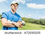 asian pro golf arm's cross... | Shutterstock . vector #672030205