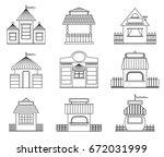 set of fairy houses in outline... | Shutterstock .eps vector #672031999