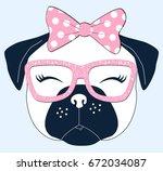 sweet pug dog illustration... | Shutterstock .eps vector #672034087