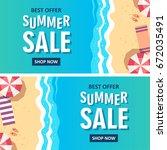 summer sale banner. vector... | Shutterstock .eps vector #672035491