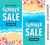 summer sale banner. vector... | Shutterstock .eps vector #672035509
