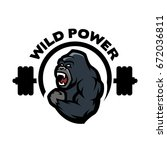 angry gorilla. sports gym logo. | Shutterstock .eps vector #672036811