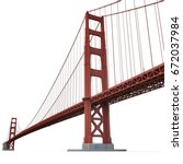 golden gate bridge on white. 3d ... | Shutterstock . vector #672037984