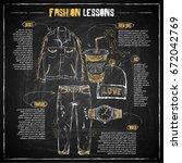 scheme  sketch of  fashion... | Shutterstock .eps vector #672042769