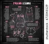 scheme  sketch of  fashion... | Shutterstock .eps vector #672043129