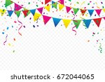 colorful party flags with... | Shutterstock .eps vector #672044065