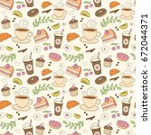 coffee and sweets seamless... | Shutterstock .eps vector #672044371