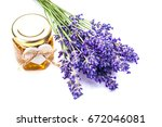 lavender with aromatic oil... | Shutterstock . vector #672046081