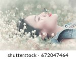 beautiful girl is relaxing...   Shutterstock . vector #672047464